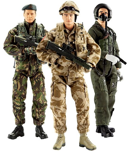HM Armed Forces action figures - Royal Marine Commando, Army Soldier & RAF Pilot